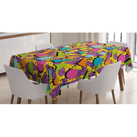 Vintage Tablecloth, Funky Geometric 80s Memphis Fashion Style Colorful Figures Pop Art Inspired Pattern, Rectangular Table Cover for Dining Room Kitchen, 52 X 70 Inches, Multicolor, by Ambesonne](80s Table Decorations)