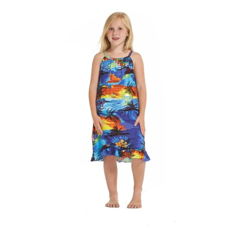 Girl Round Neck Tunic Hawaiian Luau Dress in Blue Sunset Size