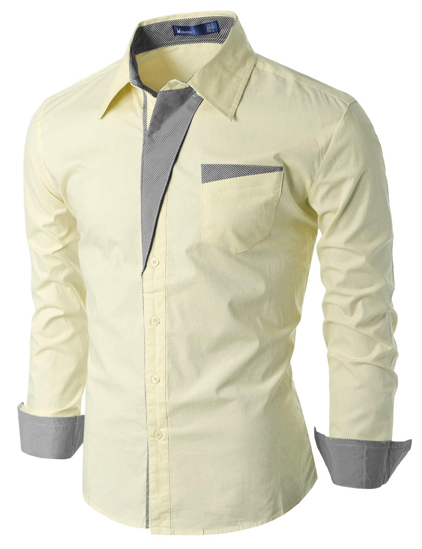 Doublju Mens Slim Fit Cotton Flannel Long Sleeve Button Down Shirts