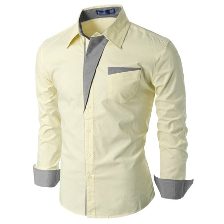 Doublju Mens Slim Fit Cotton Long Sleeve Button Down Shirts