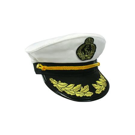 7d52091ff90 Yacht Captain Hat Sea Skipper White Navy Sailor Cap Costume Boater Hat  Party - Walmart.com