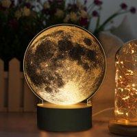 Acrylic Nightlight,Ymiko Acrylic 3D  LED Moon Nightlight DIY Bedside Lamp Touch Control USB Charging, 3D Lamp