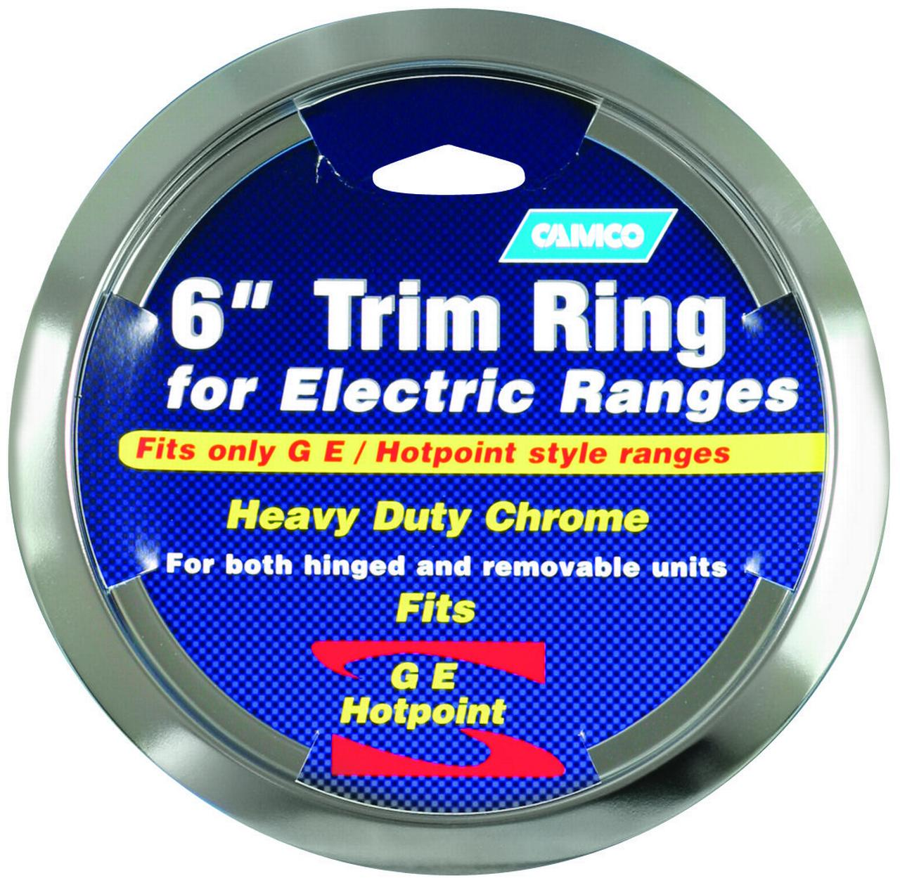 Camco GE/Hotpoint Electric Trim Ring, For Use With Metal or Porcelain Pans, 6 in Dia, Chrome Plated