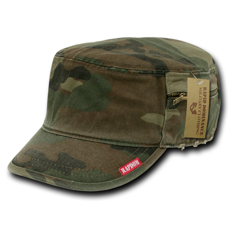 Rapid Dominance Flat Top Zipper BDU Fatigue Cadet Military Fitted Torn Caps - Flat Top Hat
