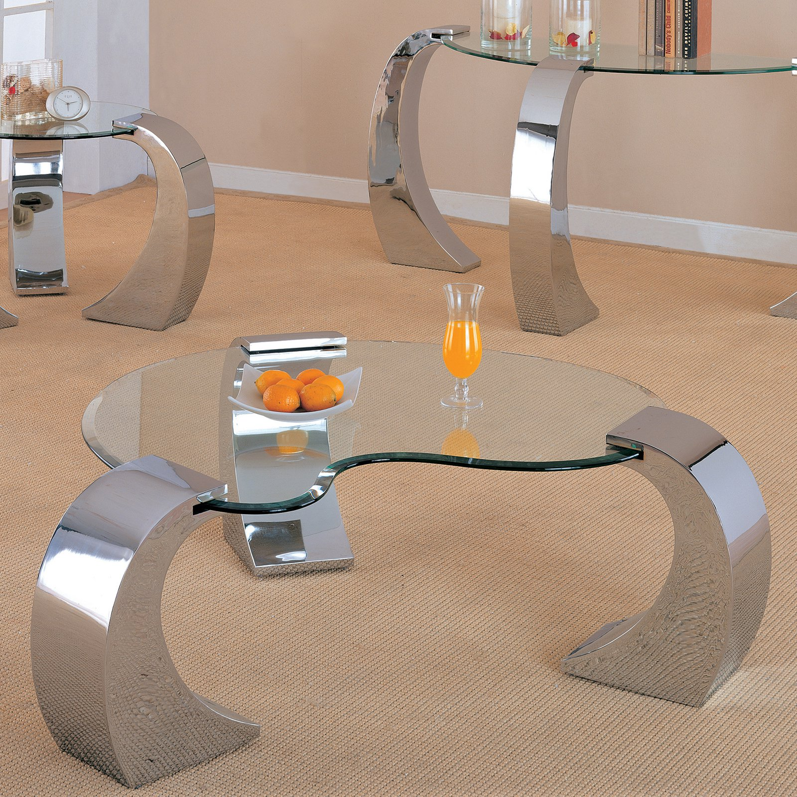 Coaster Furniture Glass Top Coffee Table - Silver