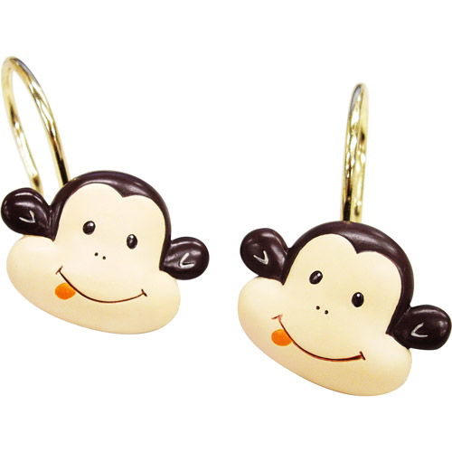 Mainstays Monkey Decorative Bath Collection - 12 Piece Shower Hooks