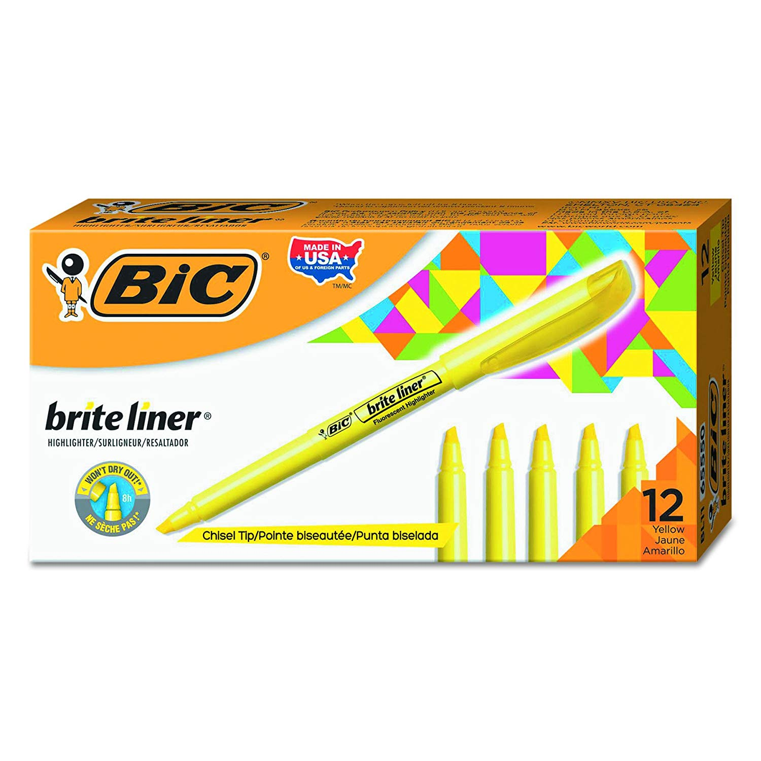 Brite Liner Highlighter, Chisel Tip, Yellow, 12-Count BIC - 12 Count