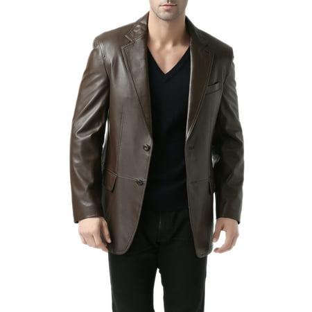 BGSD Men's Grant 2-Button New Zealand Lambskin Leather Blazer (Regular & Tall) Button Lambskin Leather Blazer