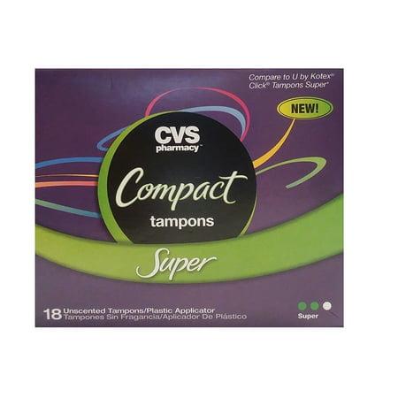 Cvs Tampons Compact Applicator Super 18 Tampons Walmartcom