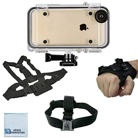eCostConnection Extreme Sports Waterproof Case for iPhone 6,6S + Adjustable Chest Mount Harness + Head Strap Mount + Rotating Wrist Strap Mount + Microfiber (Micro Mount)
