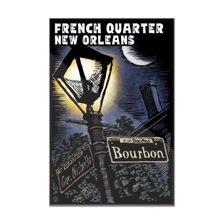 New Orleans, Louisiana - Bourbon Street Lamppost - Scratchboard ...