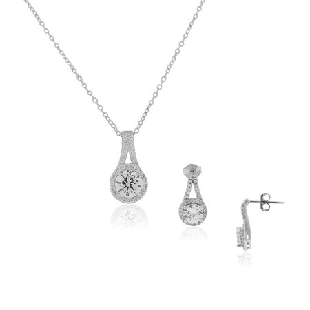 Silver Tone White Jewelry Set - 925 Sterling Silver Clear White CZ Classic Bridal Pendant Necklace Stud Drop Earrings Set, 18