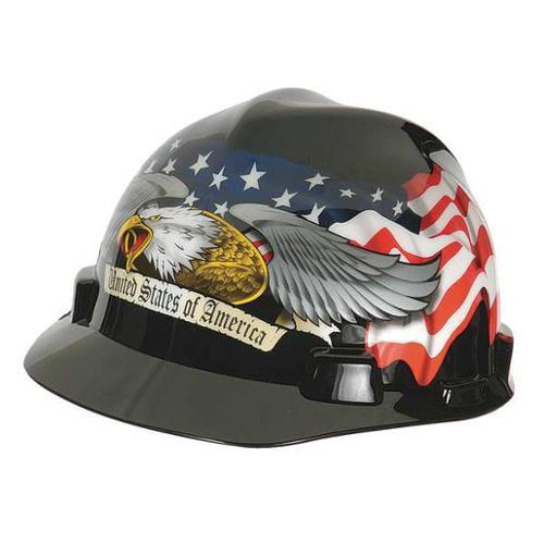 MSA 10079479 Hard Hat, FtBrm, Slttd, 4Rtcht, Eagle w/Flag