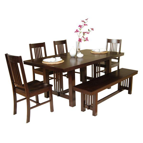 Walker Edison C60M2CNO Meridian 6-Piece Wood Dining Set