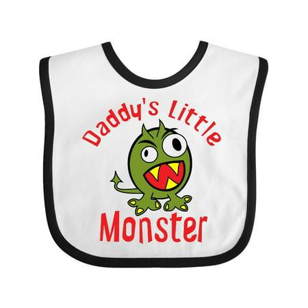 Daddy's Little Monster Baby Bib White/Black One Size