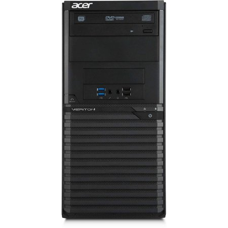 Acer Black Veriton M2632G Desktop PC with Intel Pentium G3250 Dual-Core Processor, 4GB Memory, 500GB Hard Drive and Windows 7 Professional (Monitor Not Included)