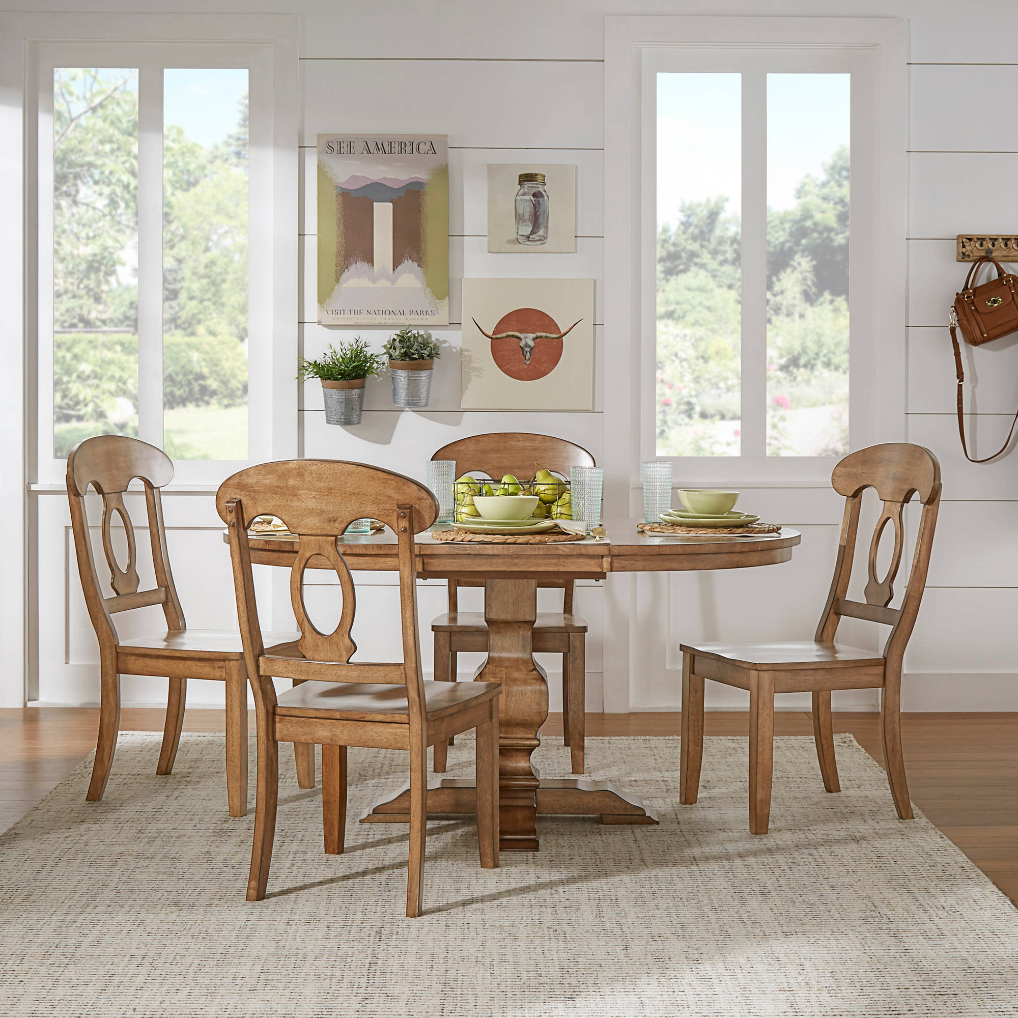 "Weston Home 5-Piece 60"" Oval Dining Set, with Oak Table and Oak Napoleon Back Chairs"