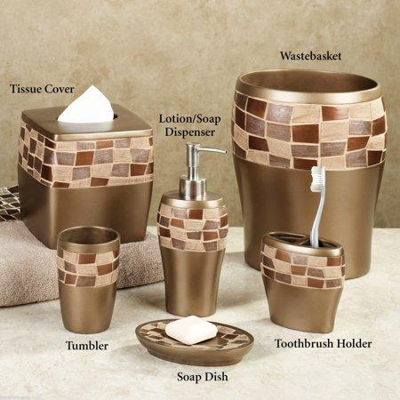 Popular Bath Mosaic Stone Bronze Basket, Tissue, Cup, Soap Dish, Toothbrush, Lotion, 6 Piece Set