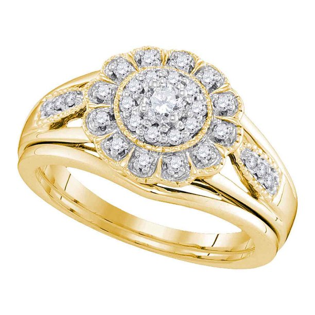 10kt Yellow Gold Womens Diamond Round Bridal Wedding Engagement Ring Band Set 1/3 Cttw