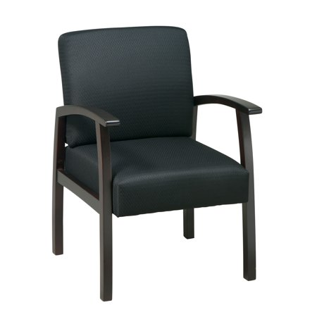 Work Smart™ Espresso Finish Wood Visitor Chair. Thick Padded Seat and Back with Built-in Lumbar Support. Espresso Wood Base and Arms. Black Triangle Colored -
