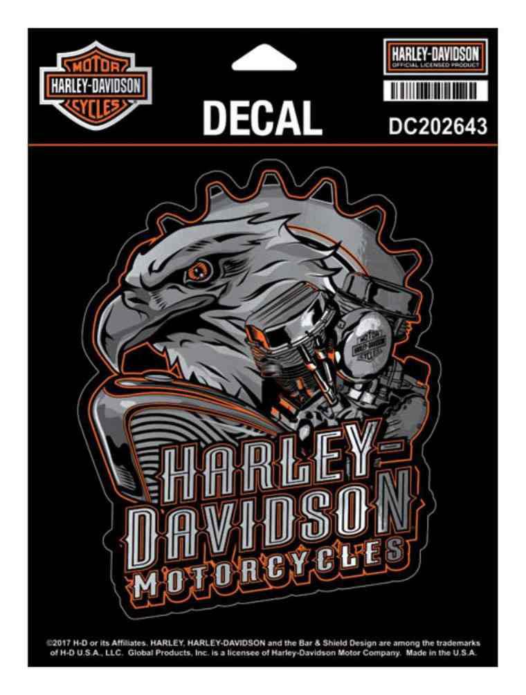Harley-Davidson Eagle Engine Ultra Decal, Chrome MD Size 4.375 x 5.5 in DC202643, Harley Davidson by Harley-Davidson