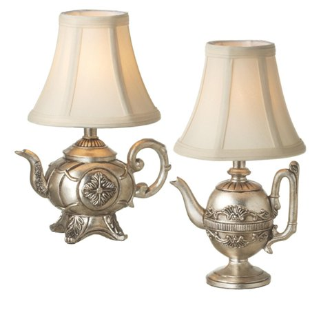 Set of 2 Antique Silver Teapot Table Top Mini Lamps With Shade 12