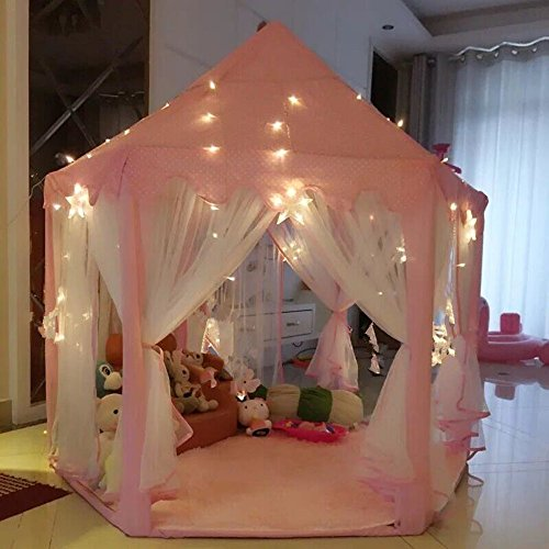 AuTop Large Indoor and Outdoor Kids Play House Pink Hexagon Princess Castle Kids Play Tent Child Play Tent by AuTop