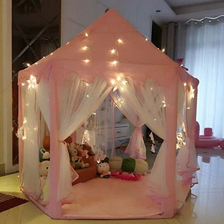 AuTop Large Indoor and Outdoor Kids Play House Pink Hexagon Princess Castle Kids Play Tent Child Play Tent (Princess Castle Play Tent)