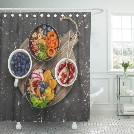 KSADK Vegetarian Quinoa Bowl Healthy Breakfast Snack with Detox Tomato Cucumber Carrot Pomegranate Seeds Juicy Shower Curtain Bathroom Curtain 60x72 inch](Cucumber Snack)