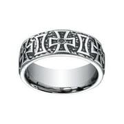 Benchmark Cobalt Men's 1/5ct TDW Black Diamond Maltese Cross 9mm Ring