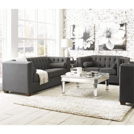 Coaster Cairns 2 Piece Fabric Sofa Set In Charcoal