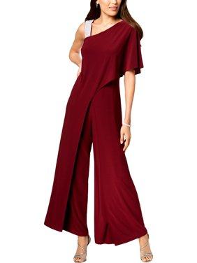 R&M Richards Womens Petites Embellished One Shoulder Jumpsuit Purple 6P