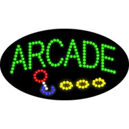 2xhome - Arcade Sign - High Visible Bright Colors Large Letters Led Moving Flashing Neon Sign Motion Light Chain 19x10 for Business Food Restaurant Diner Cafe Bar Coffee Shop Store Wall Window Display](Restaurant Story Halloween Items)