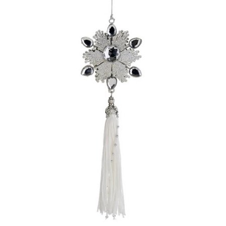 """12"""" Winter Light Silver Glitter Jeweled Snowflake Christmas Ornament with Tassel"""