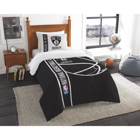 NBA Brooklyn Nets Printed Twin Comforter and Sham Set by