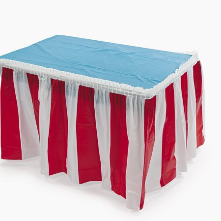Striped Table Skirt, Red/White, 14 Feet x 29 Inches