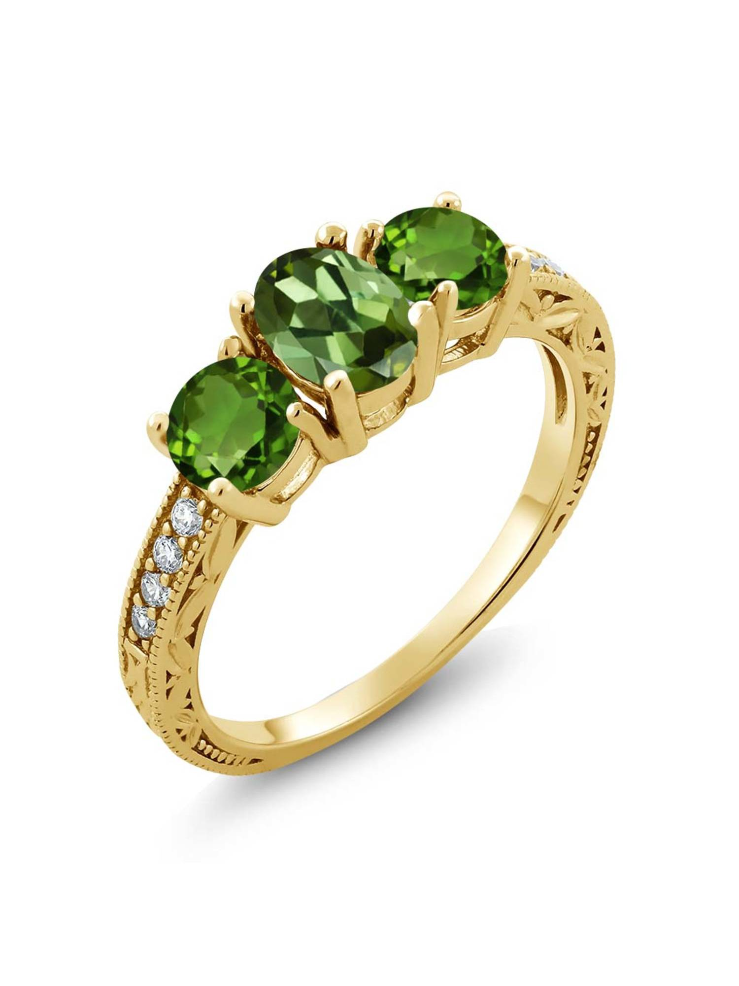Gem Stone King 1.82 Ct Green Tourmaline Green Chrome Diopside 18K Yellow Gold Plated Silver Ring by