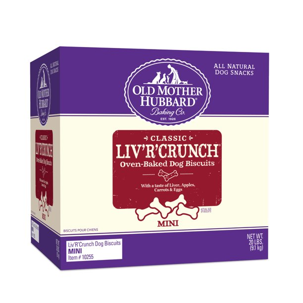 Old Mother Hubbard Classic Crunchy Natural Dog Treats, Liv'R'Crunch Mini Biscuits, 20-Pound Box