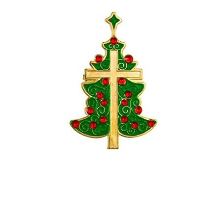Christmas Tree Pin Brooch with Cross (Pack of 3)