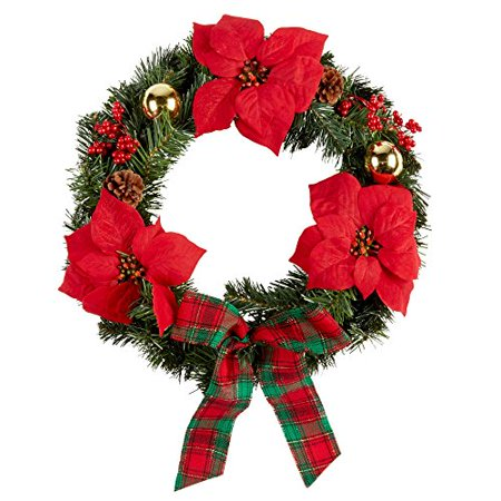 Nantucket Home Christmas Holiday Plaid Bow Poinsettia Wreath, 22-Inch ()