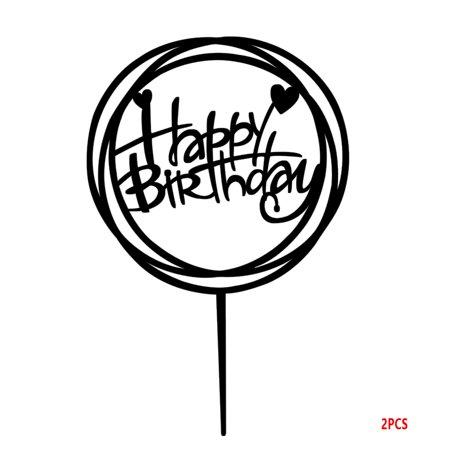 Round Happy Birthday Cake Topper Acrylic DIY Cupcake Cake Smash Candle Alternative Party Handmade