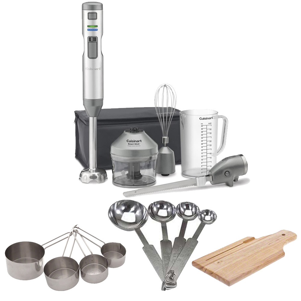 Cuisinart CSB-300 Cordless Hand Blender w/ Electric Knife & Measuring Cup & Spoon Set & Bread Board