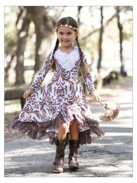 Girls Brown & Creme Medallion Print Long Sleeve Hi-Lo Drawstring Dress with Lace Ruffle Hem, Brown, Size: 12Y