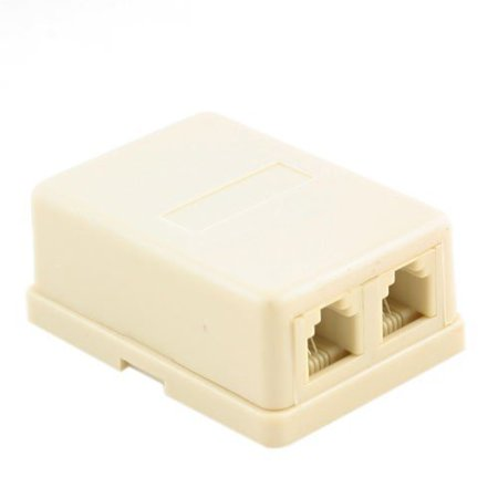 Wideskall® Wall Surface Mount Dual Telephone Jack 4 Conductor Modular (Ivory)