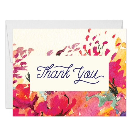 Pink Watercolor Thank You Cards with Envelopes ( Pack of 25 ) Elegant Floral Thanks Gracias Notecards Birthday Party Anniversary Baby Bridal Shower Baptism Gift Gratitude Excellent Value VT0056B