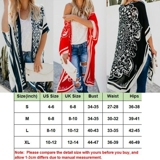 90a5f8fd179fe7 Hirigin - Women Tops New Women Floral Loose Kimono Cardigan Boho Beach  Chiffon Tops Long Coat Blouse Red Size S - Walmart.com