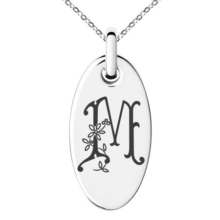 Stainless Steel Letter M Initial Floral Monogram Engraved Small Oval Charm Pendant - Engraved Monogram