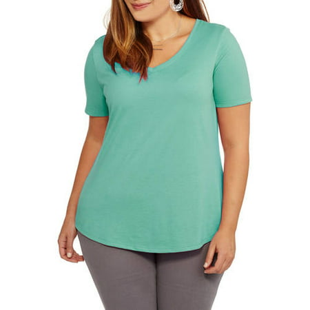 042f8ed7 Faded Glory - Women's Plus V-Neck Tee - Walmart.com