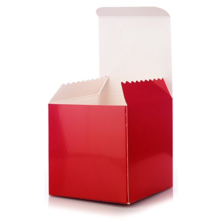 6 Pack of Small Square High Gloss Red Gift Boxes- 4 x 4 X 4