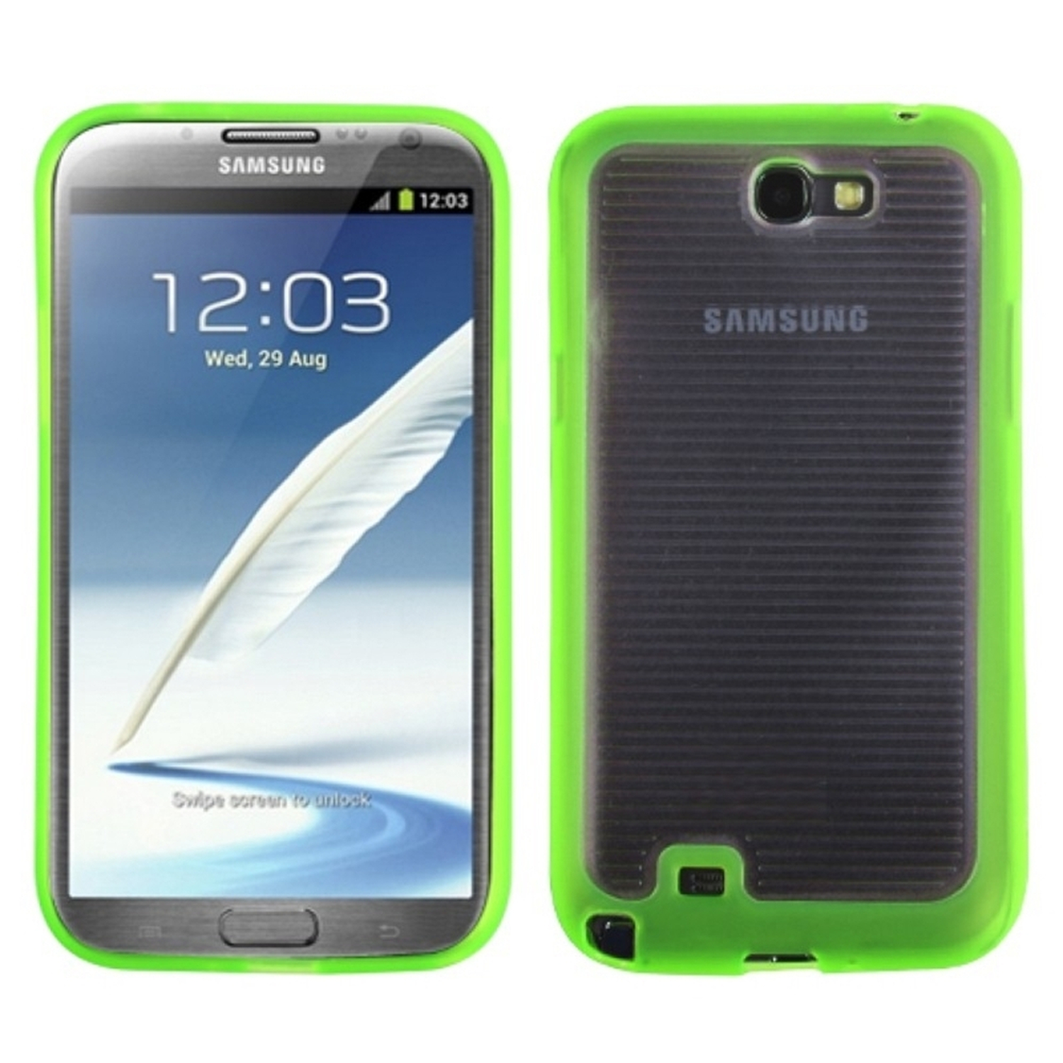 Insten Horizontal Stripes Transparent Clear/Solid Green Gummy Cover Case for SAMSUNG: Galaxy Note II (T889/I605/N7100)
